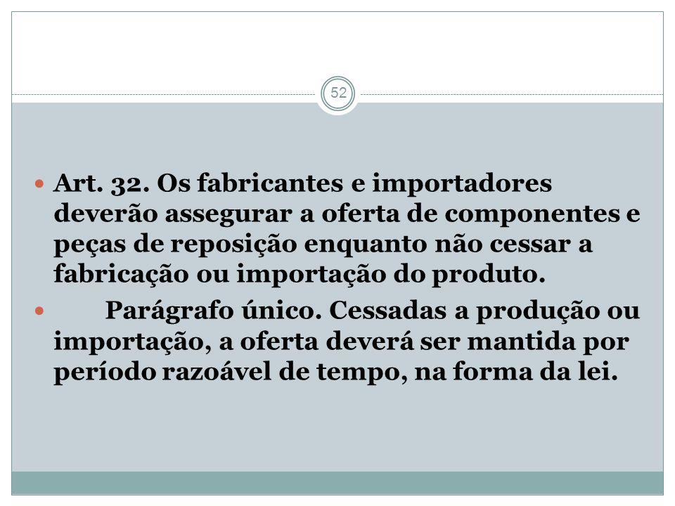 52 Art. 32. Os fabricantes e importadores deverão assegurar a oferta de componentes e peças de reposição enquanto não cessar a fabricação ou importaçã