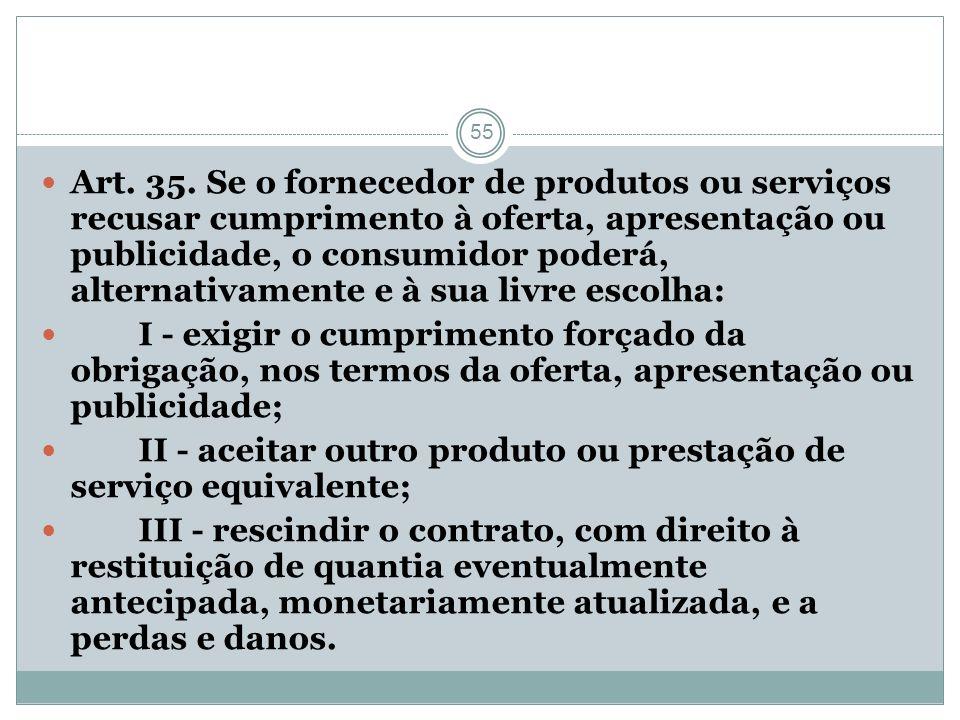 55 Art. 35. Se o fornecedor de produtos ou serviços recusar cumprimento à oferta, apresentação ou publicidade, o consumidor poderá, alternativamente e
