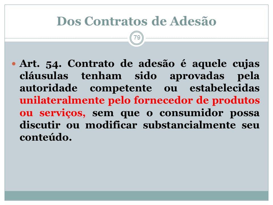 Dos Contratos de Adesão 79 Art. 54. Contrato de adesão é aquele cujas cláusulas tenham sido aprovadas pela autoridade competente ou estabelecidas unil