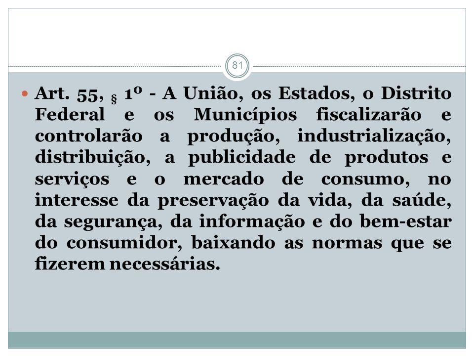 81 Art. 55, § 1º - A União, os Estados, o Distrito Federal e os Municípios fiscalizarão e controlarão a produção, industrialização, distribuição, a pu