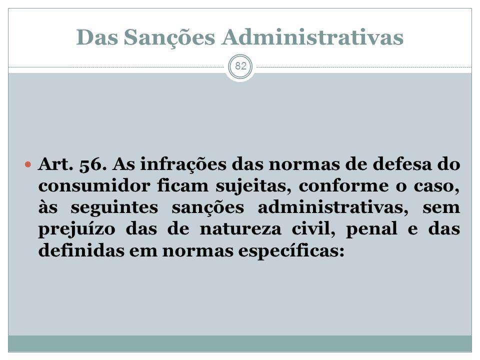 Das Sanções Administrativas 82 Art. 56. As infrações das normas de defesa do consumidor ficam sujeitas, conforme o caso, às seguintes sanções administ