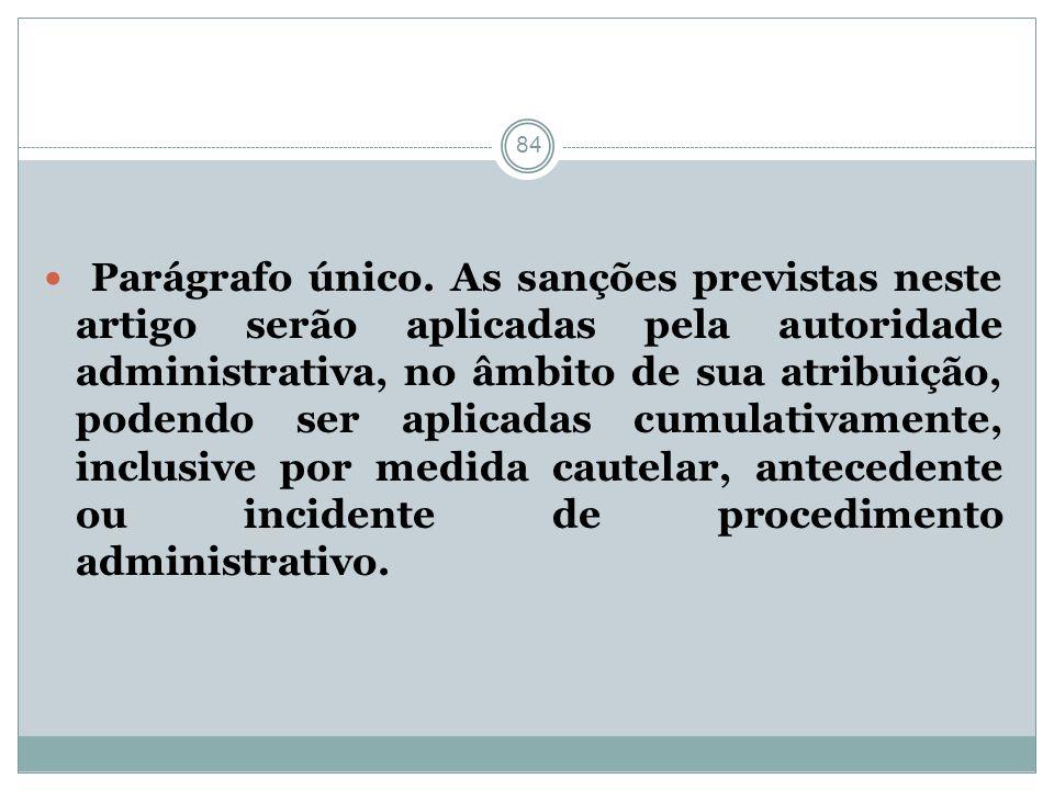 84 Parágrafo único. As sanções previstas neste artigo serão aplicadas pela autoridade administrativa, no âmbito de sua atribuição, podendo ser aplicad