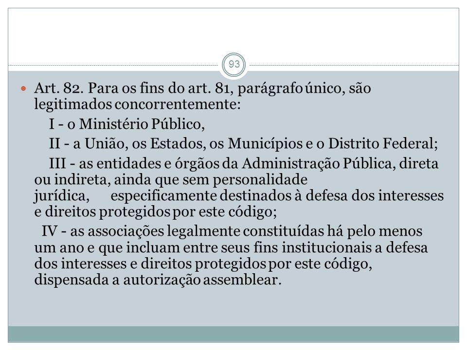 93 Art. 82. Para os fins do art. 81, parágrafo único, são legitimados concorrentemente: I - o Ministério Público, II - a União, os Estados, os Municíp