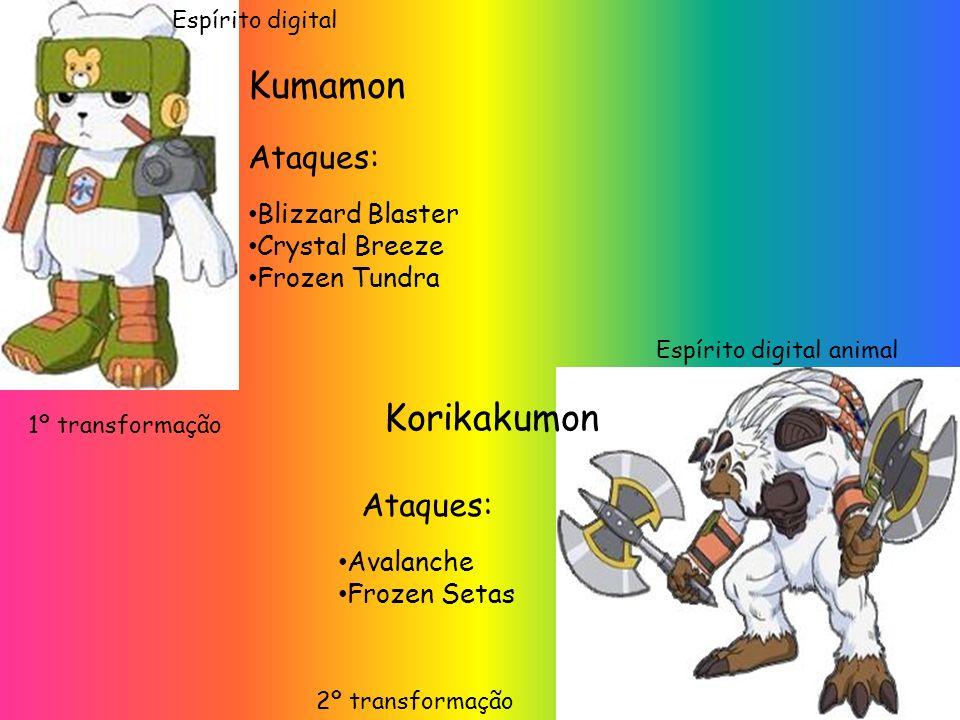 Kumamon Blizzard Blaster Crystal Breeze Frozen Tundra Ataques: 1º transformação Korikakumon Ataques: Avalanche Frozen Setas 2º transformação Espírito digital animal Espírito digital