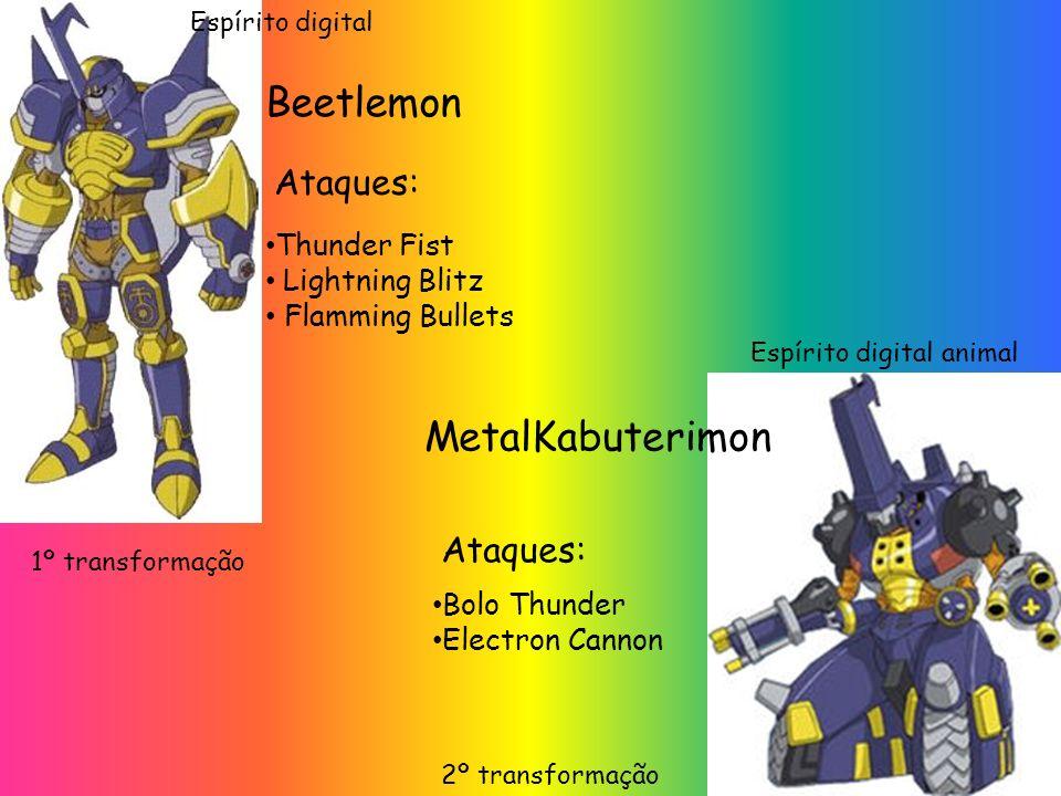Thunder Fist Lightning Blitz Flamming Bullets Ataques: 1º transformação Beetlemon MetalKabuterimon Ataques: Bolo Thunder Electron Cannon 2º transforma