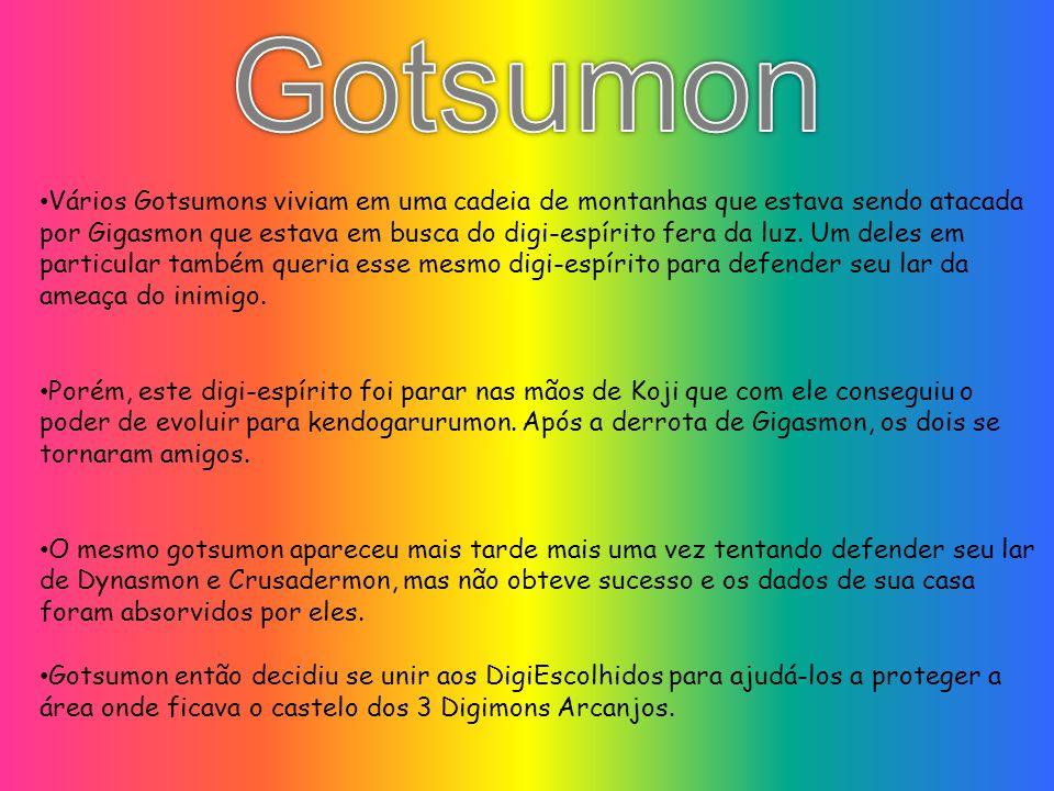 Vários Gotsumons viviam em uma cadeia de montanhas que estava sendo atacada por Gigasmon que estava em busca do digi-espírito fera da luz. Um deles em