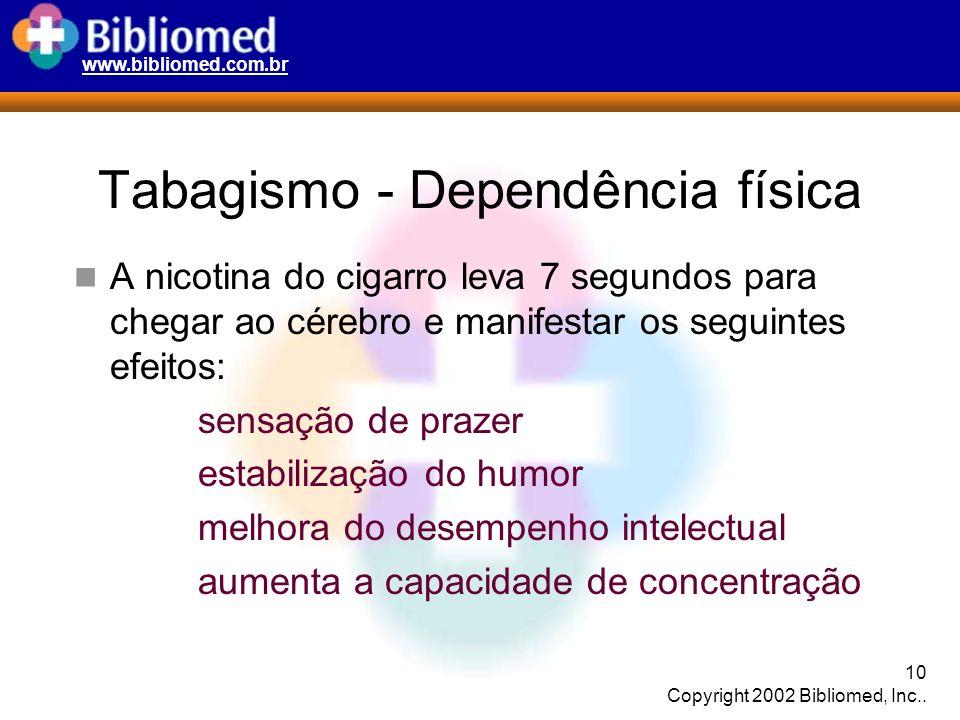 www.bibliomed.com.br 10 Copyright 2002 Bibliomed, Inc.. Tabagismo - Dependência física A nicotina do cigarro leva 7 segundos para chegar ao cérebro e