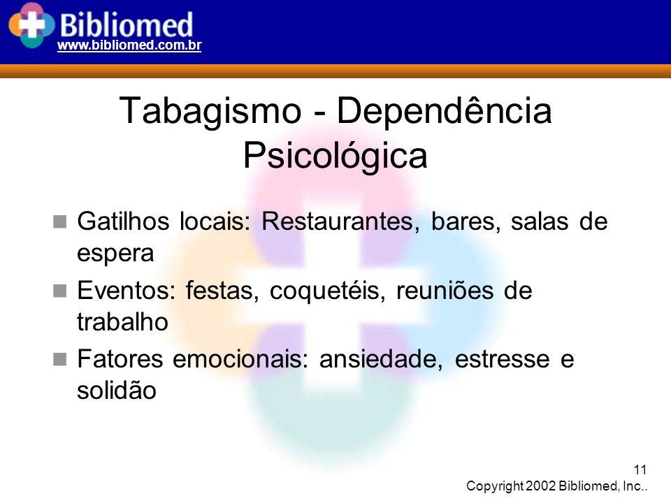 www.bibliomed.com.br 11 Copyright 2002 Bibliomed, Inc.. Tabagismo - Dependência Psicológica Gatilhos locais: Restaurantes, bares, salas de espera Even