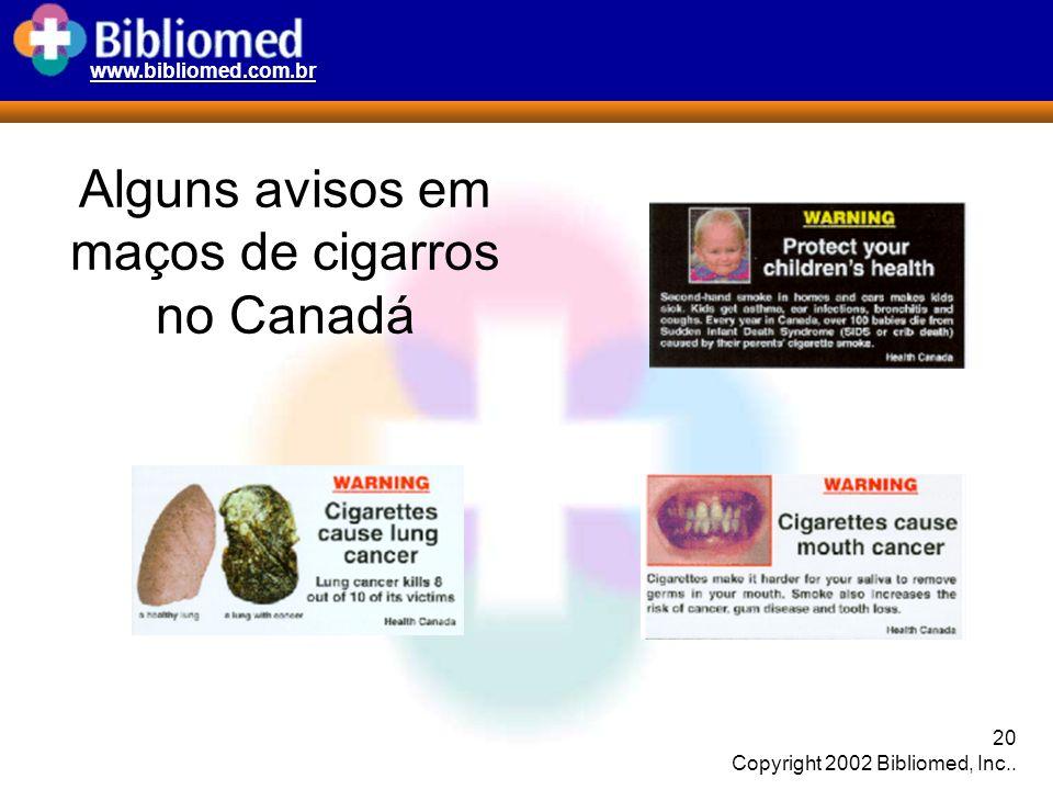 www.bibliomed.com.br 20 Copyright 2002 Bibliomed, Inc.. Alguns avisos em maços de cigarros no Canadá