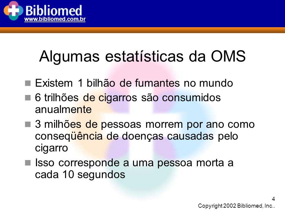 www.bibliomed.com.br 4 Copyright 2002 Bibliomed, Inc.. Algumas estatísticas da OMS Existem 1 bilhão de fumantes no mundo 6 trilhões de cigarros são co