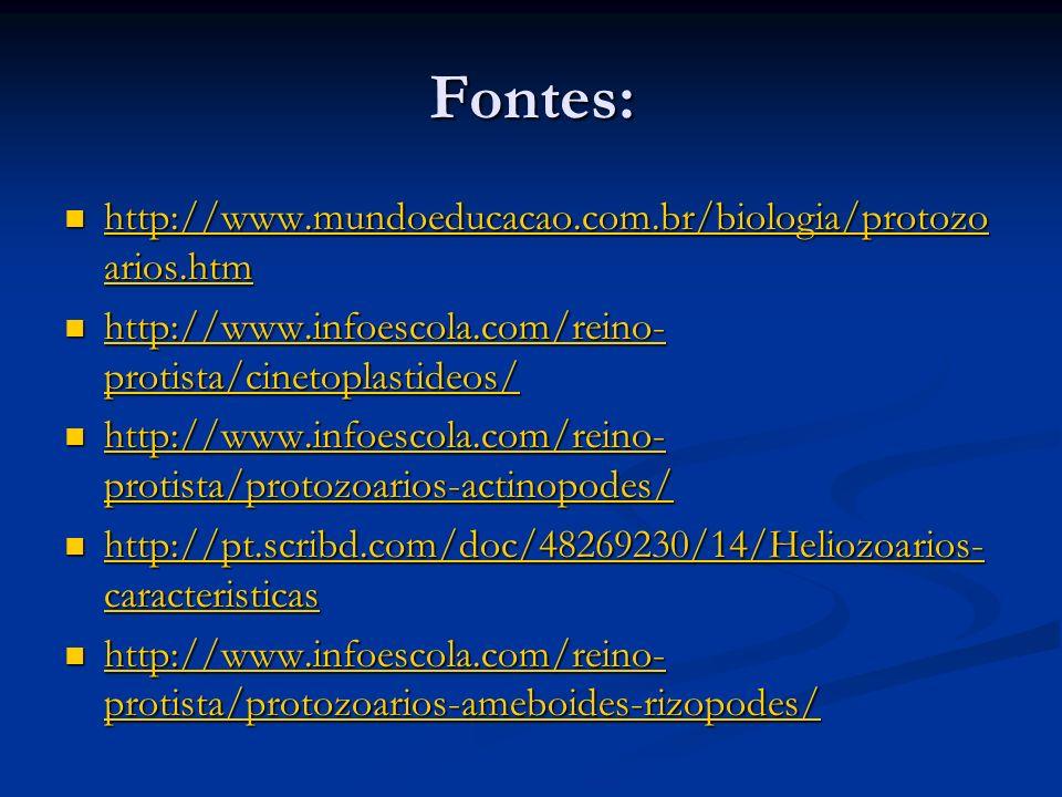 Fontes: http://www.mundoeducacao.com.br/biologia/protozo arios.htm http://www.mundoeducacao.com.br/biologia/protozo arios.htm http://www.mundoeducacao.com.br/biologia/protozo arios.htm http://www.mundoeducacao.com.br/biologia/protozo arios.htm http://www.infoescola.com/reino- protista/cinetoplastideos/ http://www.infoescola.com/reino- protista/cinetoplastideos/ http://www.infoescola.com/reino- protista/cinetoplastideos/ http://www.infoescola.com/reino- protista/cinetoplastideos/ http://www.infoescola.com/reino- protista/protozoarios-actinopodes/ http://www.infoescola.com/reino- protista/protozoarios-actinopodes/ http://www.infoescola.com/reino- protista/protozoarios-actinopodes/ http://www.infoescola.com/reino- protista/protozoarios-actinopodes/ http://pt.scribd.com/doc/48269230/14/Heliozoarios- caracteristicas http://pt.scribd.com/doc/48269230/14/Heliozoarios- caracteristicas http://pt.scribd.com/doc/48269230/14/Heliozoarios- caracteristicas http://pt.scribd.com/doc/48269230/14/Heliozoarios- caracteristicas http://www.infoescola.com/reino- protista/protozoarios-ameboides-rizopodes/ http://www.infoescola.com/reino- protista/protozoarios-ameboides-rizopodes/ http://www.infoescola.com/reino- protista/protozoarios-ameboides-rizopodes/ http://www.infoescola.com/reino- protista/protozoarios-ameboides-rizopodes/