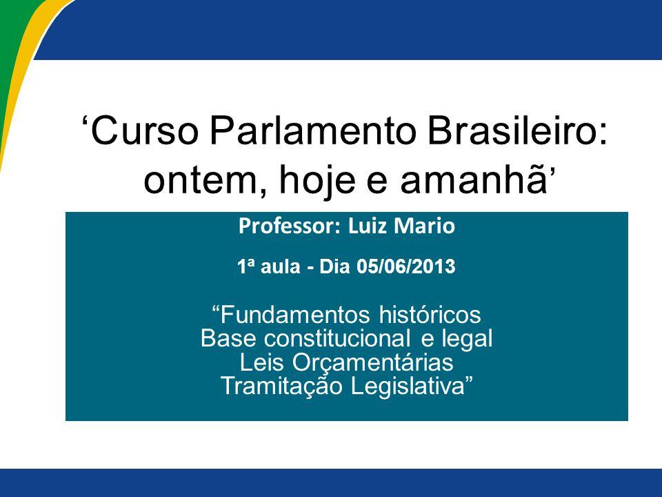 Professor: Luiz Mario 1ª aula - Dia 05/06/2013 Fundamentos históricos Base constitucional e legal Leis Orçamentárias Tramitação Legislativa