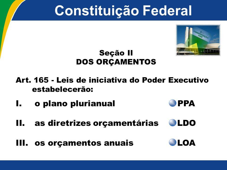 Constituição Federal Seção II DOS ORÇAMENTOS Art. 165 - Leis de iniciativa do Poder Executivo estabelecerão: I. o plano plurianual PPA II. as diretriz