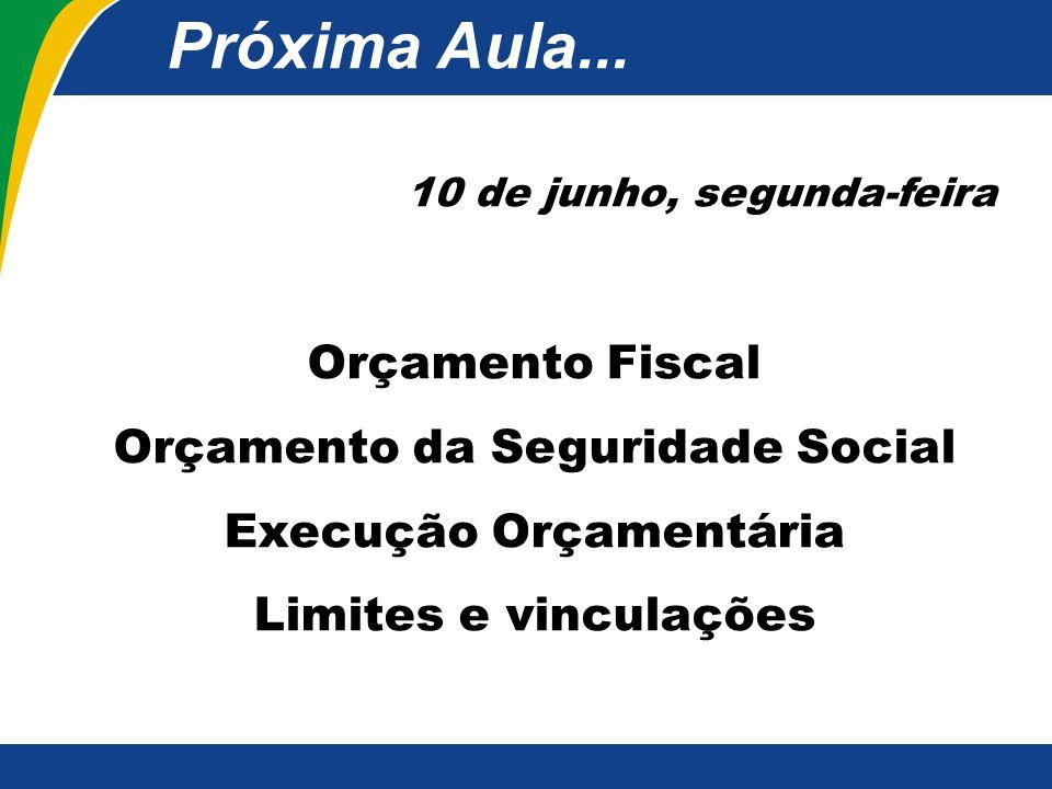 10 de junho, segunda-feira Orçamento Fiscal Orçamento da Seguridade Social Execução Orçamentária Limites e vinculações Próxima Aula...