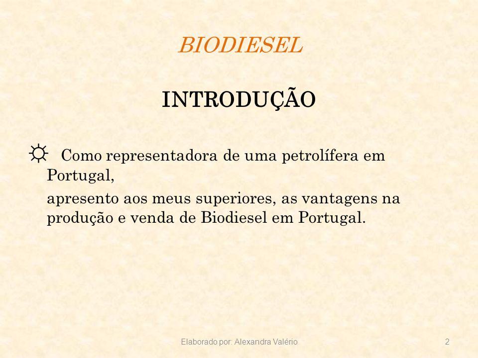 BIODIESEL INTRODUÇÃO Como representadora de uma petrolífera em Portugal, apresento aos meus superiores, as vantagens na produção e venda de Biodiesel
