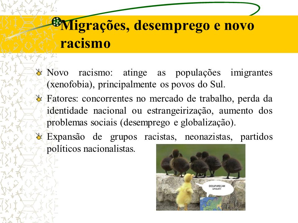Novo racismo: atinge as populações imigrantes (xenofobia), principalmente os povos do Sul. Fatores: concorrentes no mercado de trabalho, perda da iden