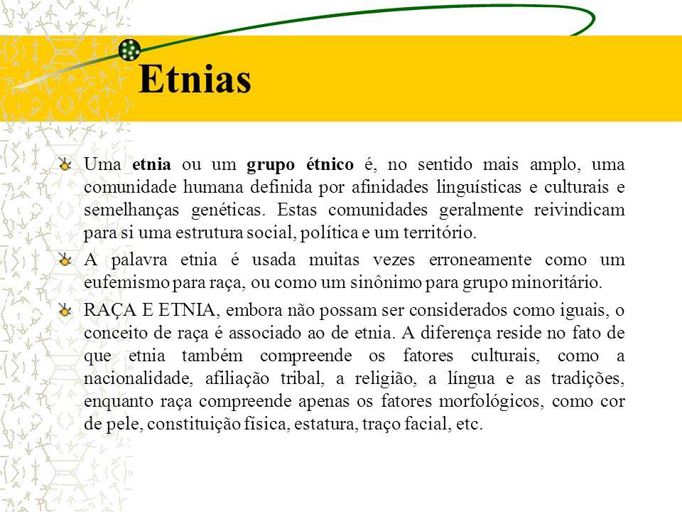Uma etnia ou um grupo étnico é, no sentido mais amplo, uma comunidade humana definida por afinidades linguísticas e culturais e semelhanças genéticas.