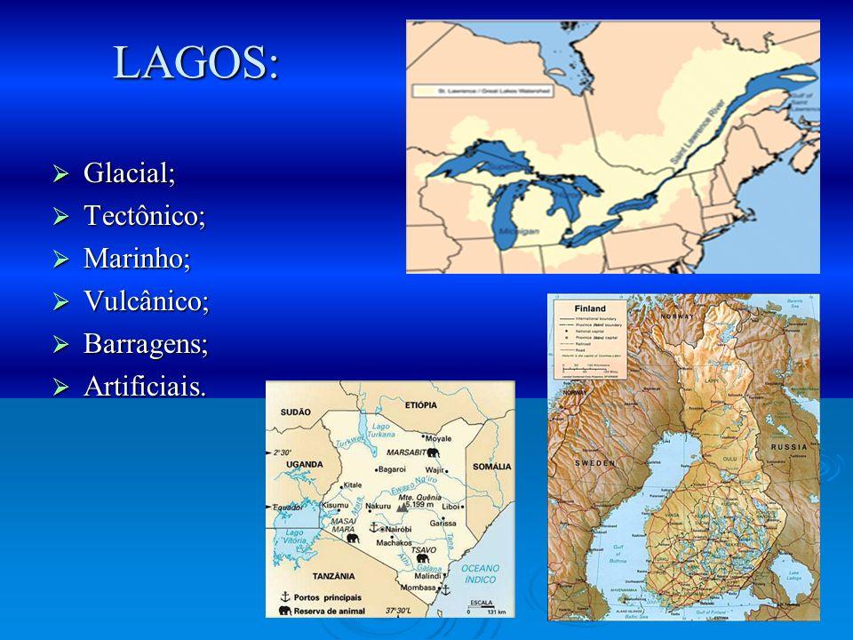 Glacial; Glacial; Tectônico; Tectônico; Marinho; Marinho; Vulcânico; Vulcânico; Barragens; Barragens; Artificiais. Artificiais. LAGOS: