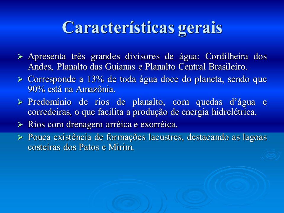 Características gerais Apresenta três grandes divisores de água: Cordilheira dos Andes, Planalto das Guianas e Planalto Central Brasileiro. Apresenta