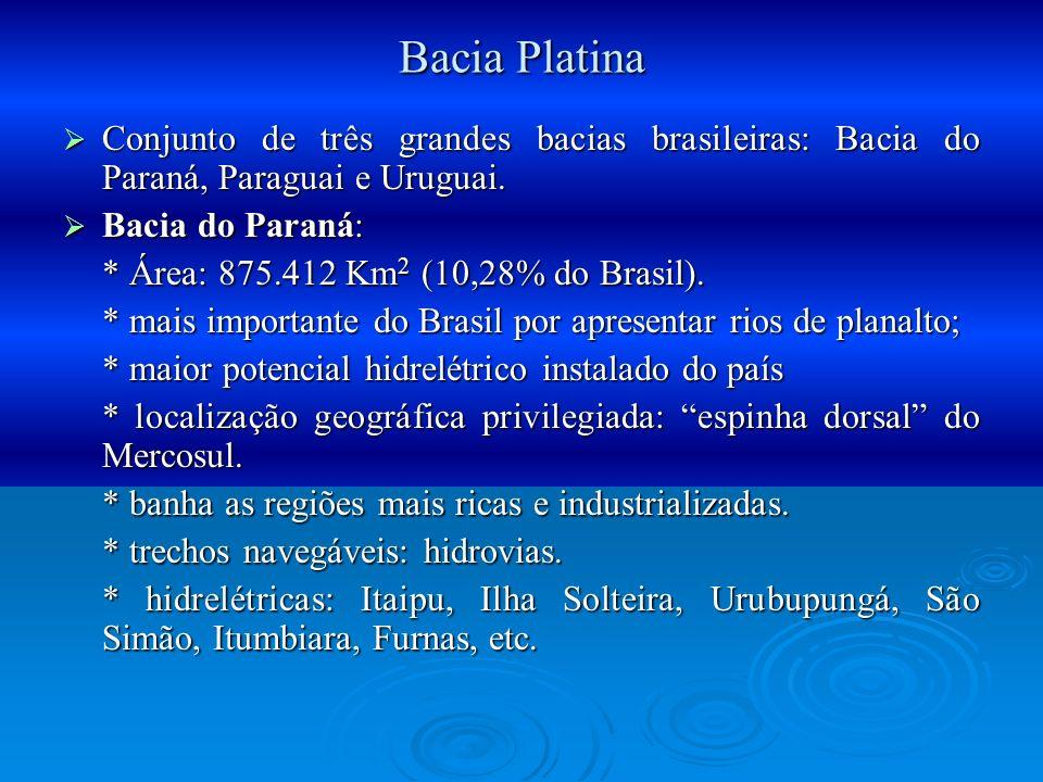 Bacia Platina Conjunto de três grandes bacias brasileiras: Bacia do Paraná, Paraguai e Uruguai. Conjunto de três grandes bacias brasileiras: Bacia do