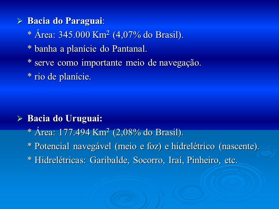 Bacia do Paraguai: Bacia do Paraguai: * Área: 345.000 Km 2 (4,07% do Brasil). * banha a planície do Pantanal. * serve como importante meio de navegaçã