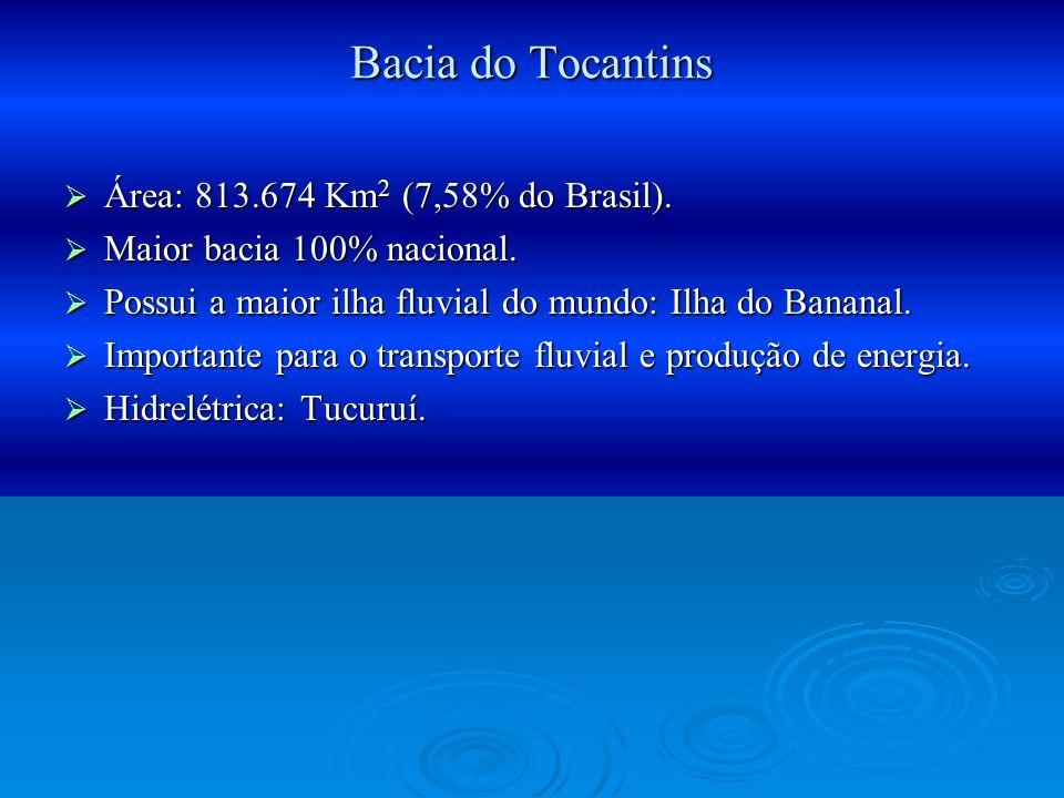 Bacia do Tocantins Área: 813.674 Km 2 (7,58% do Brasil). Área: 813.674 Km 2 (7,58% do Brasil). Maior bacia 100% nacional. Maior bacia 100% nacional. P