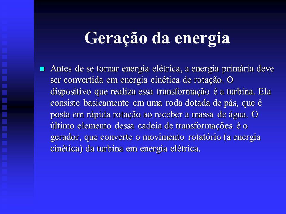 Geração da energia Antes de se tornar energia elétrica, a energia primária deve ser convertida em energia cinética de rotação.