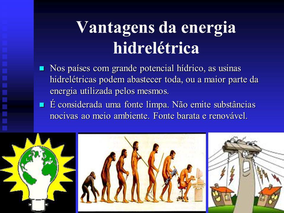 Vantagens da energia hidrelétrica Nos países com grande potencial hídrico, as usinas hidrelétricas podem abastecer toda, ou a maior parte da energia utilizada pelos mesmos.