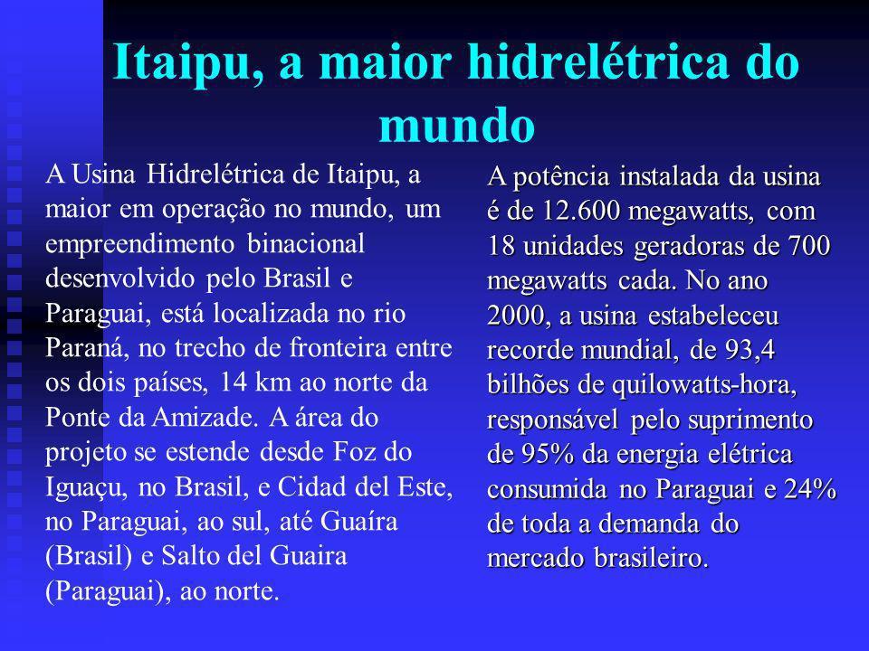 Itaipu, a maior hidrelétrica do mundo A Usina Hidrelétrica de Itaipu, a maior em operação no mundo, um empreendimento binacional desenvolvido pelo Brasil e Paraguai, está localizada no rio Paraná, no trecho de fronteira entre os dois países, 14 km ao norte da Ponte da Amizade.