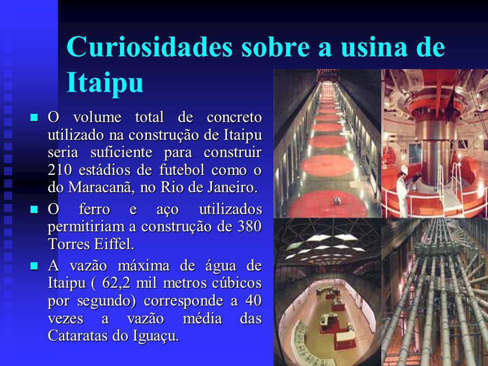 Curiosidades sobre a usina de Itaipu O volume total de concreto utilizado na construção de Itaipu seria suficiente para construir 210 estádios de futebol como o do Maracanã, no Rio de Janeiro.