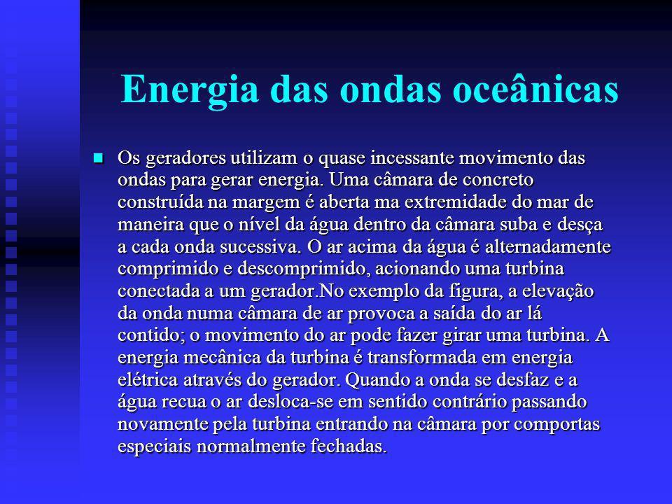 Energia das ondas oceânicas Os geradores utilizam o quase incessante movimento das ondas para gerar energia.