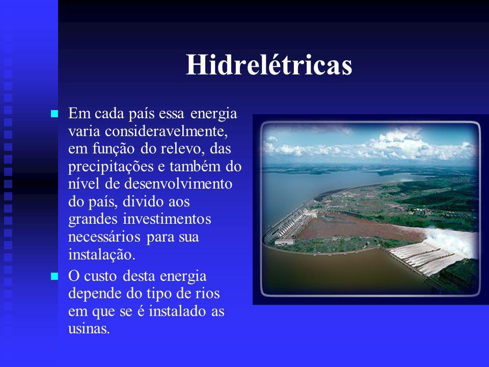 Hidrelétricas Em cada país essa energia varia consideravelmente, em função do relevo, das precipitações e também do nível de desenvolvimento do país, divido aos grandes investimentos necessários para sua instalação.