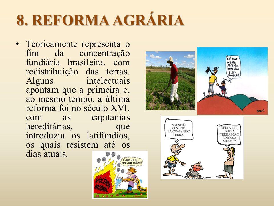 8. REFORMA AGRÁRIA Teoricamente representa o fim da concentração fundiária brasileira, com redistribuição das terras. Alguns intelectuais apontam que