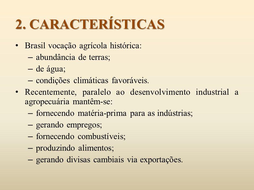 Brasil vocação agrícola histórica: – abundância de terras; – de água; – condições climáticas favoráveis. Recentemente, paralelo ao desenvolvimento ind