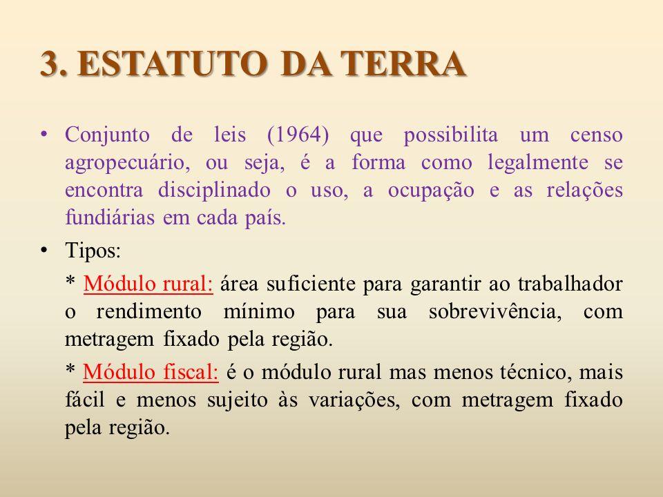 Minifúndio: imóvel explorado inferior a um módulo rural e abastece o mercado interno.