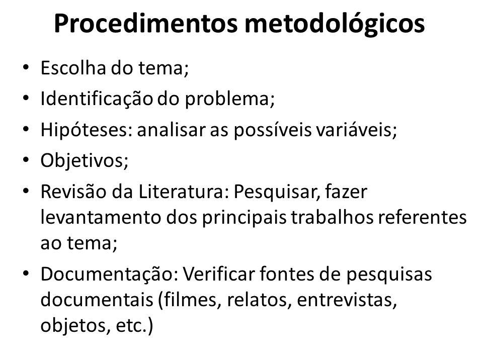 Procedimentos metodológicos Escolha do tema; Identificação do problema; Hipóteses: analisar as possíveis variáveis; Objetivos; Revisão da Literatura: