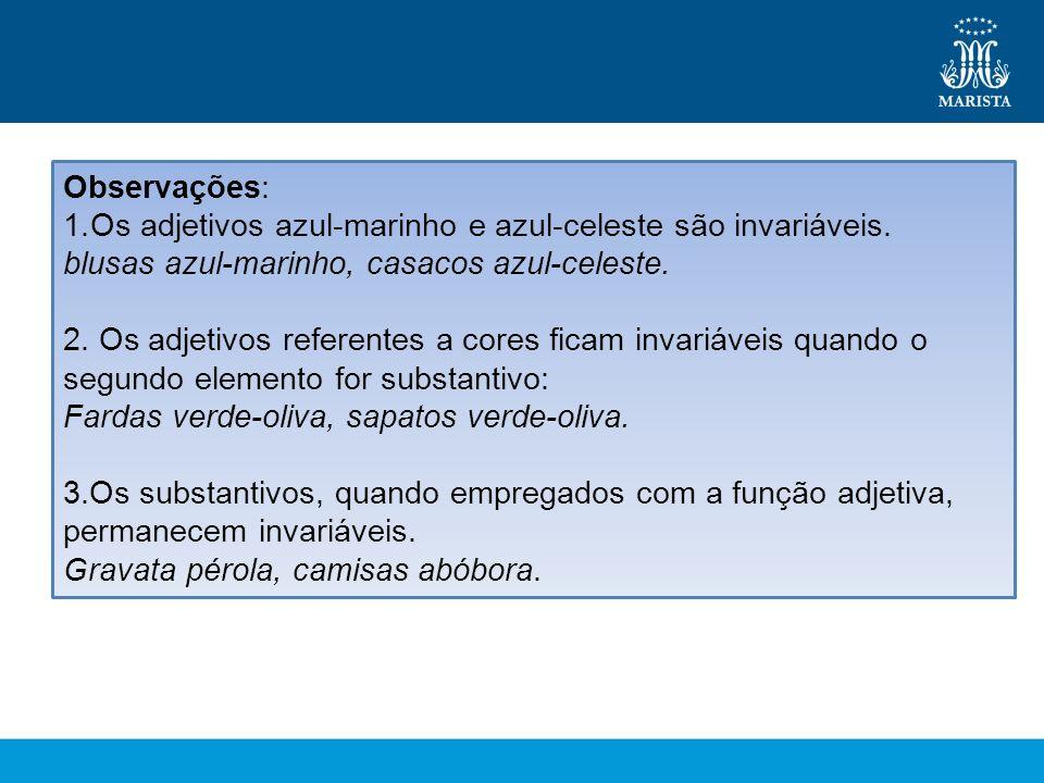 Observações: 1.Os adjetivos azul-marinho e azul-celeste são invariáveis.