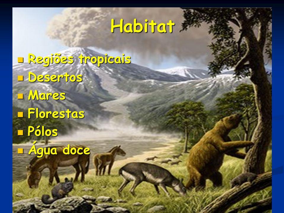 Habitat Regiões tropicais Regiões tropicais Desertos Desertos Mares Mares Florestas Florestas Pólos Pólos Água doce Água doce