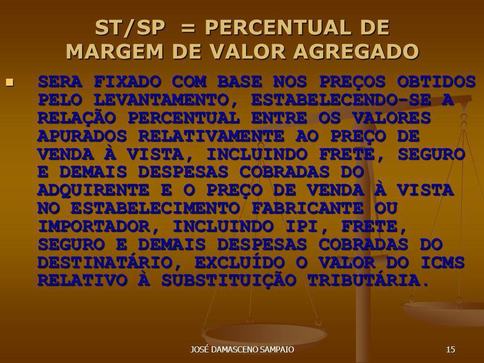 JOSÉ DAMASCENO SAMPAIO15 ST/SP = PERCENTUAL DE MARGEM DE VALOR AGREGADO SERA FIXADO COM BASE NOS PREÇOS OBTIDOS PELO LEVANTAMENTO, ESTABELECENDO-SE A