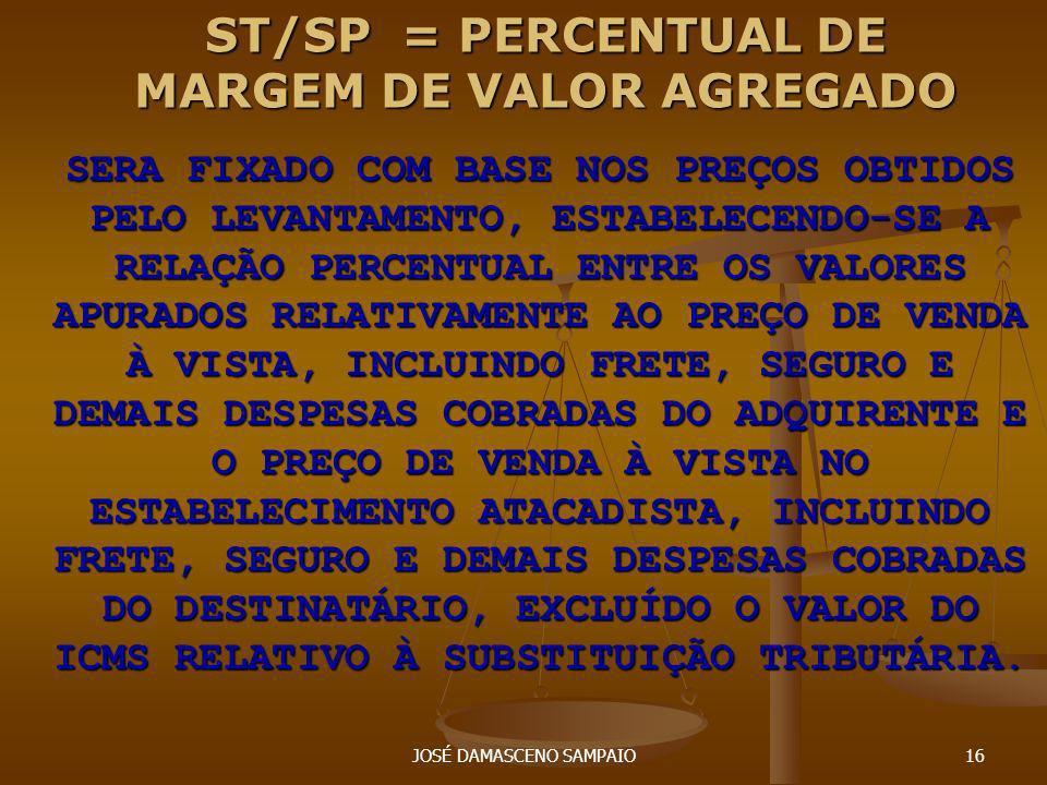 JOSÉ DAMASCENO SAMPAIO16 ST/SP = PERCENTUAL DE MARGEM DE VALOR AGREGADO SERA FIXADO COM BASE NOS PREÇOS OBTIDOS PELO LEVANTAMENTO, ESTABELECENDO-SE A
