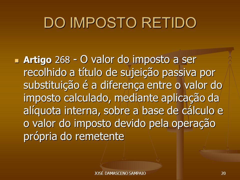 DO IMPOSTO RETIDO Artigo 268 - O valor do imposto a ser recolhido a título de sujeição passiva por substituição é a diferença entre o valor do imposto
