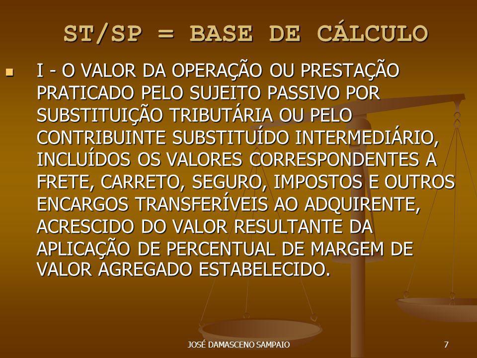 JOSÉ DAMASCENO SAMPAIO7 ST/SP = BASE DE CÁLCULO ST/SP = BASE DE CÁLCULO I - O VALOR DA OPERAÇÃO OU PRESTAÇÃO PRATICADO PELO SUJEITO PASSIVO POR SUBSTI