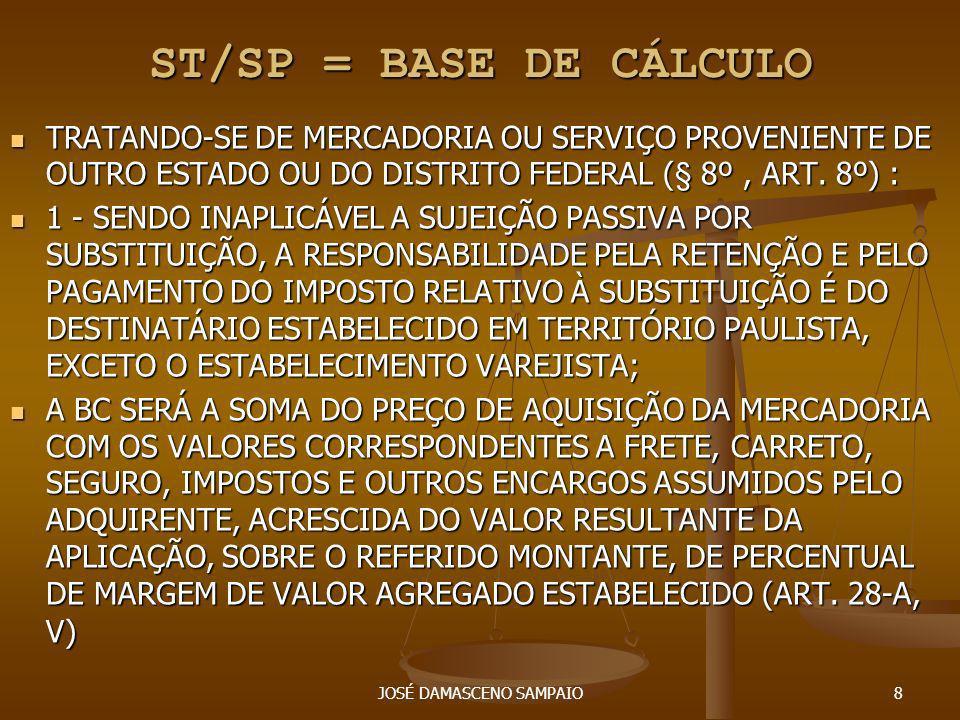 JOSÉ DAMASCENO SAMPAIO9 ST/SP = BASE DE CÁLCULO O PREÇO FINAL A CONSUMIDOR SUGERIDO PELO FABRICANTE OU IMPORTADOR, DESDE QUE: A) A ENTIDADE REPRESENTATIVA DO FABRICANTE OU IMPORTADOR APRESENTE PEDIDO FORMAL, NOS TERMOS DE DISCIPLINA ESTABELECIDA PELA SECRETARIA DA FAZENDA, DEVIDAMENTE DOCUMENTADO POR CÓPIAS DE NOTAS FISCAIS E DEMAIS ELEMENTOS QUE POSSAM COMPROVAR O PREÇO PRATICADO; B) NA HIPÓTESE DE DEFERIMENTO DO PEDIDO, O PREÇO SUGERIDO SERÁ APLICÁVEL SOMENTE APÓS SER EDITADA A LEGISLAÇÃO CORRESPONDENTE.