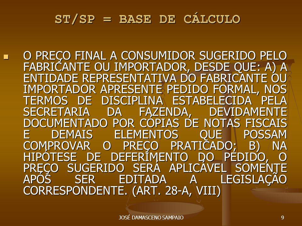 JOSÉ DAMASCENO SAMPAIO10 ST/SP = BASE DE CÁLCULO - EM SUBSTITUIÇÃO À FORMA ANTERIOR, A LEGISLAÇÃO PODERÁ FIXAR COMO BASE DE CÁLCULO DO IMPOSTO EM RELAÇÃO ÀS OPERAÇÕES OU PRESTAÇÕES SUBSEQÜENTES A MÉDIA PONDERADA DOS PREÇOS A CONSUMIDOR FINAL USUALMENTE PRATICADOS NO MERCADO CONSIDERADO, APURADA POR LEVANTAMENTO DE PREÇOS, AINDA QUE POR AMOSTRAGEM OU POR MEIO DE DADOS FORNECIDOS POR ENTIDADES REPRESENTATIVAS DOS RESPECTIVOS SETORES.