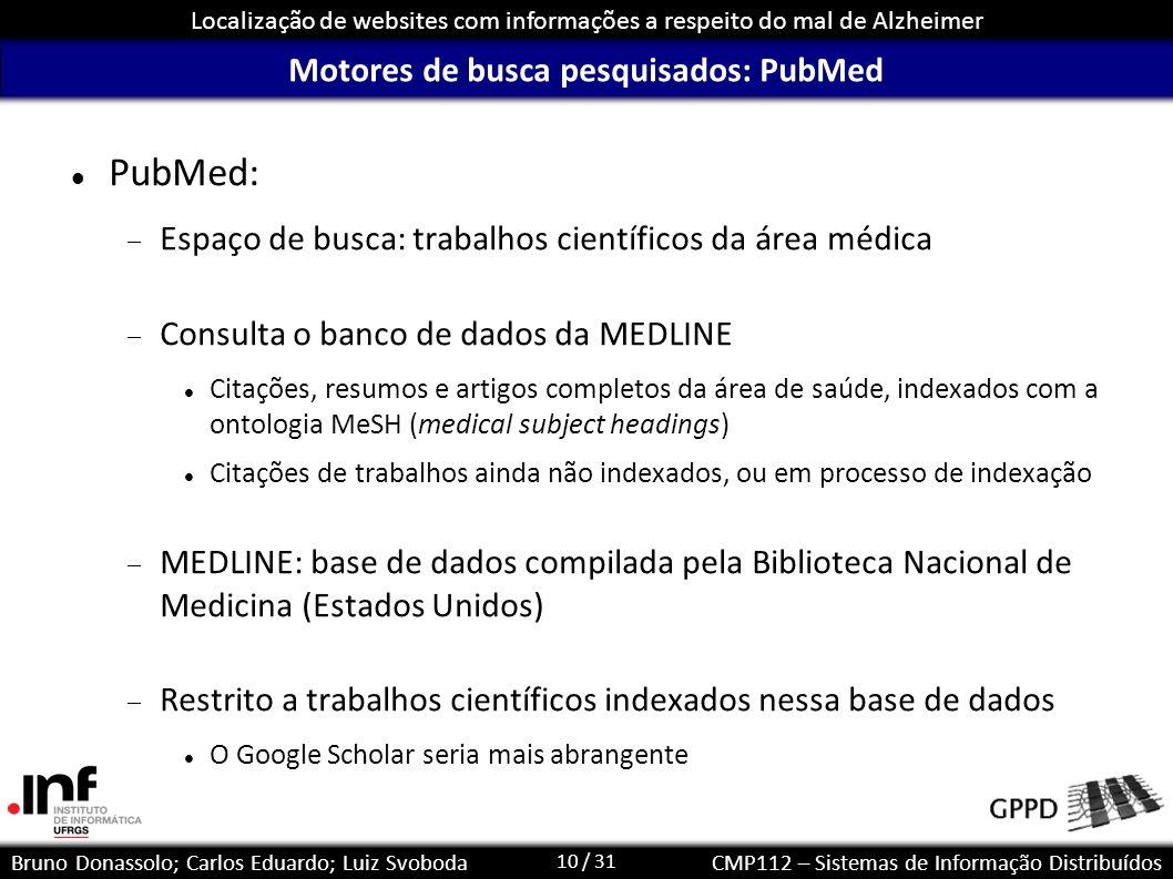 10 / 31 Localização de websites com informações a respeito do mal de Alzheimer Bruno Donassolo; Carlos Eduardo; Luiz SvobodaCMP112 – Sistemas de Infor