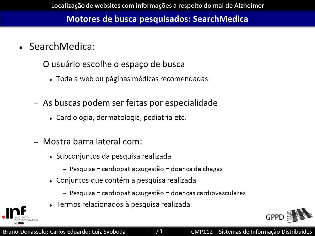 11 / 31 Localização de websites com informações a respeito do mal de Alzheimer Bruno Donassolo; Carlos Eduardo; Luiz SvobodaCMP112 – Sistemas de Infor