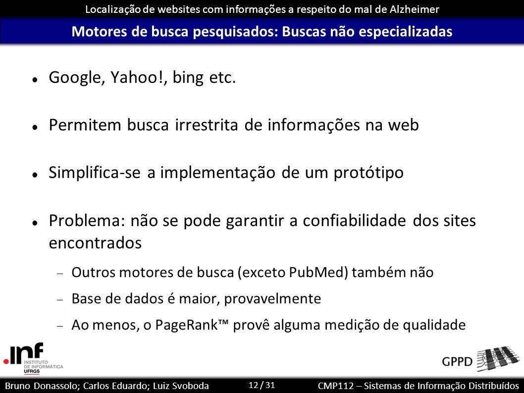 12 / 31 Localização de websites com informações a respeito do mal de Alzheimer Bruno Donassolo; Carlos Eduardo; Luiz SvobodaCMP112 – Sistemas de Infor