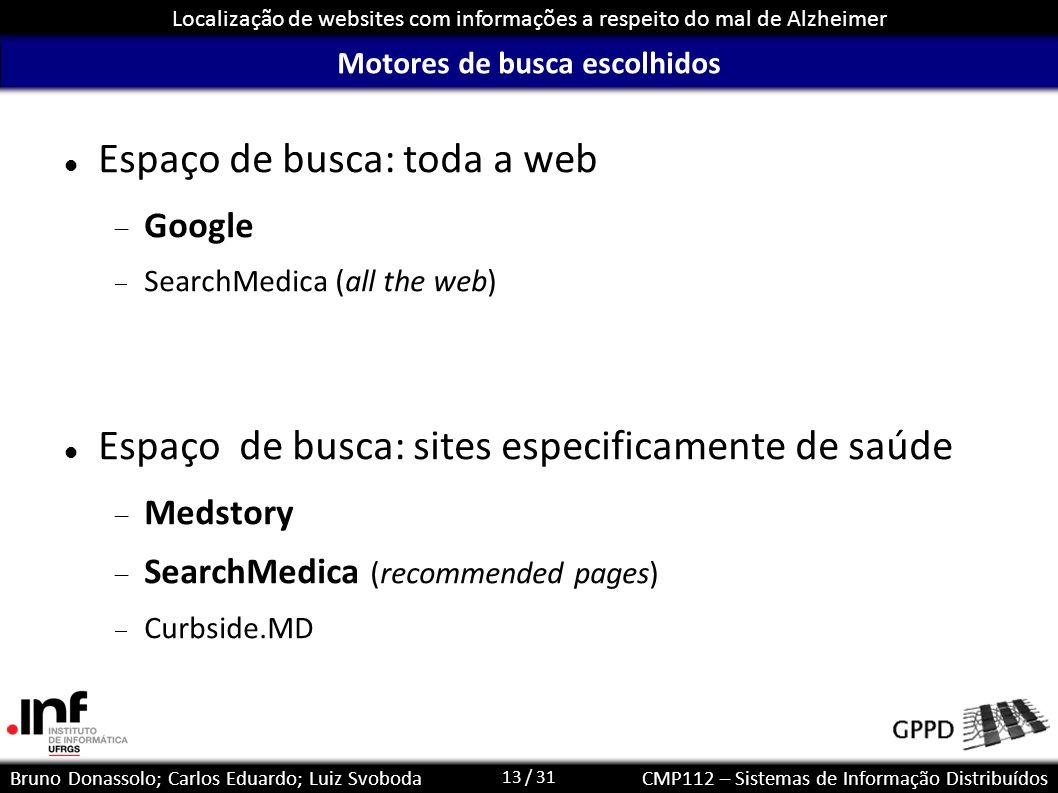 13 / 31 Localização de websites com informações a respeito do mal de Alzheimer Bruno Donassolo; Carlos Eduardo; Luiz SvobodaCMP112 – Sistemas de Infor