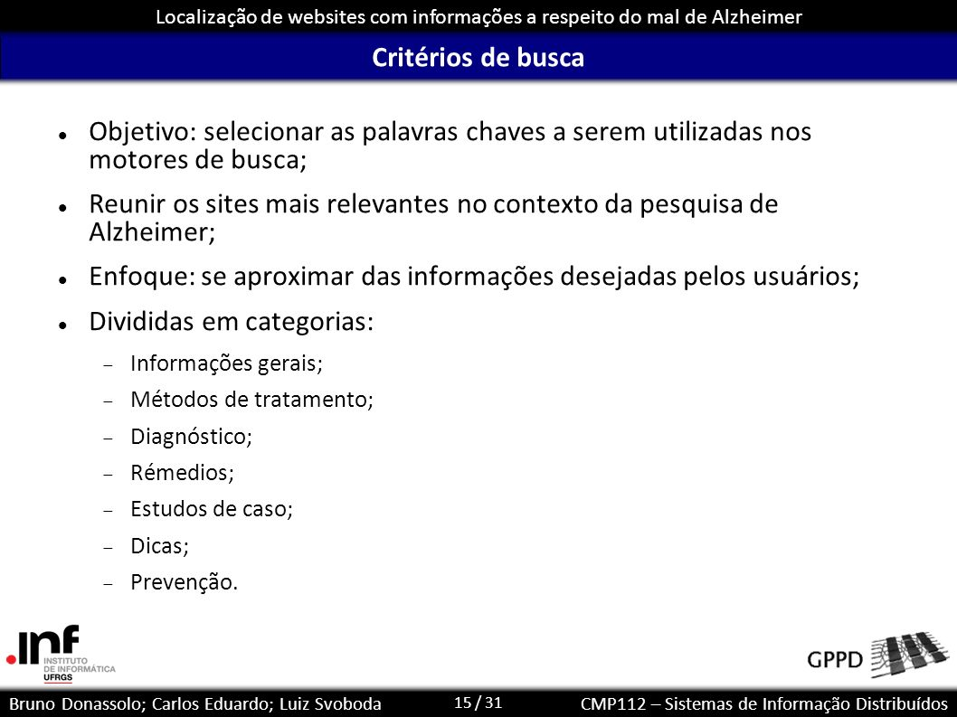 15 / 31 Localização de websites com informações a respeito do mal de Alzheimer Bruno Donassolo; Carlos Eduardo; Luiz SvobodaCMP112 – Sistemas de Infor