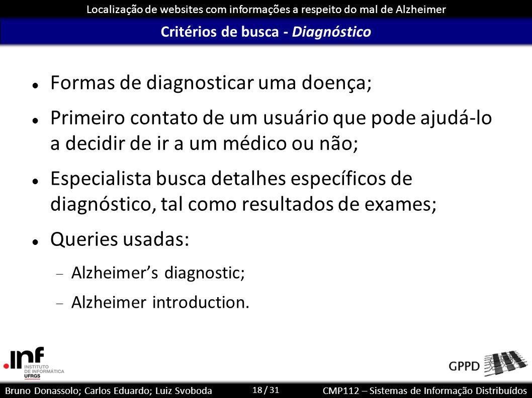 18 / 31 Localização de websites com informações a respeito do mal de Alzheimer Bruno Donassolo; Carlos Eduardo; Luiz SvobodaCMP112 – Sistemas de Infor